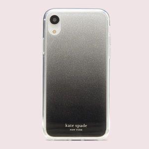 Kate Spade Black glitter ombré iPhone XR case